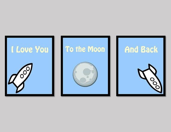 Love poster digital downloads for the nursery, perfect for your baby boy 'I Love You to the Moon and Back' - Made by Gia $10.50