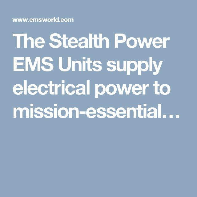 The Stealth Power EMS Units supply electrical power to mission-essential…
