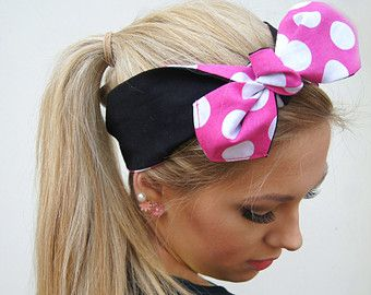 Dolly Bow Headband Rockabilly PIN UP Reversible by Nachibands
