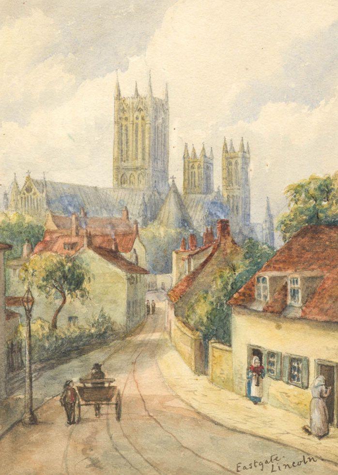 English School - Eastgate, Lincoln, 19th Century Watercolour