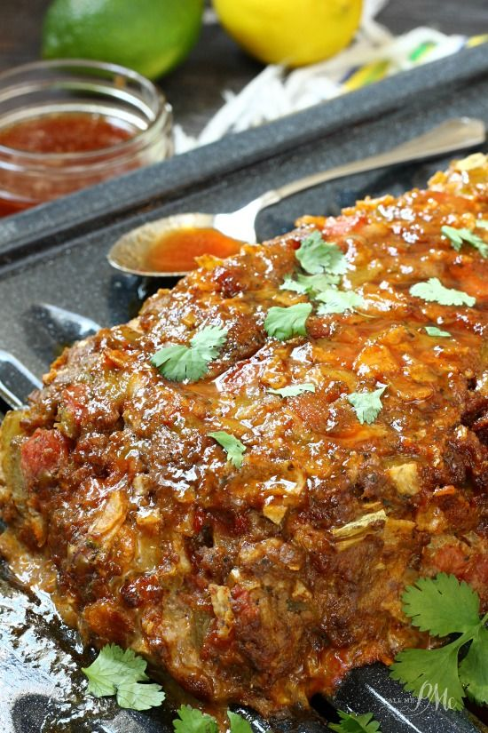 """Mexican Meatloaf  TRUDY I MADE THIS AND DID EVERYTHING BUT NO CHORIZO,I DID 11/2 LBS BEEF, NO TOMS I DID SALSA, 2 EGGS..NO BROWN SUGAR! I TOPPED IT WITH SOUR CREAM, SALSA,CHEESE AND OLIVES!! LOVE THE NACHO""""S IN IT AS FILLER MOIST AND DELISH.. DEF DO AGAIN...."""