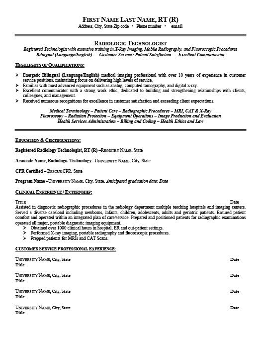 resume x ray technologist