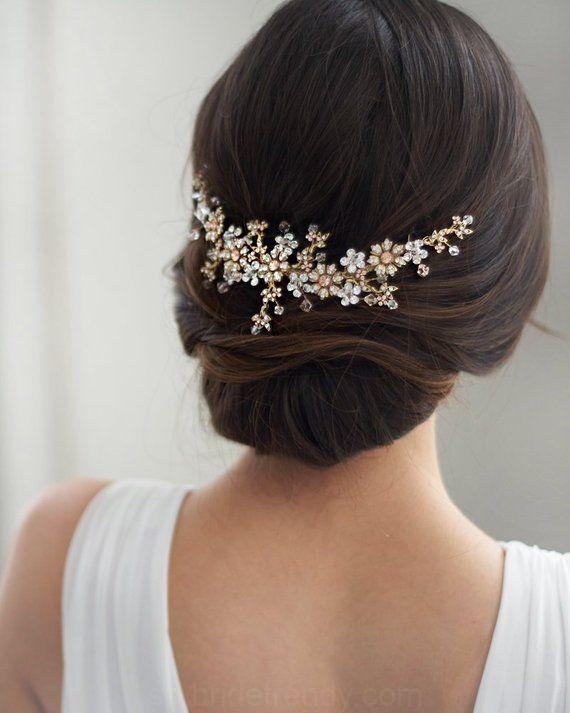 Floral Nupcial Peine Del Pelo Oro Antiguo De La Boda Peine Peine El Pelo De Colores De Oro Rosa De Cristal Pe Hair Comb Wedding Hair Styles Bridal Hair Comb
