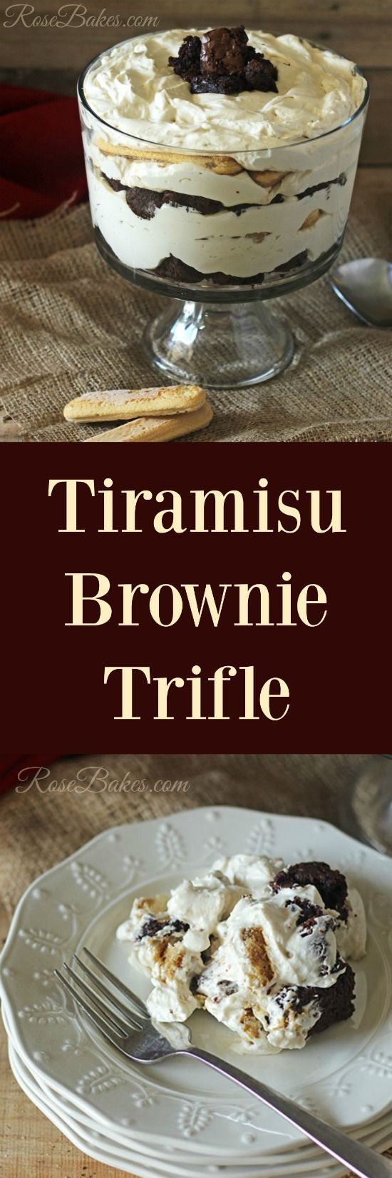 Tiramisu Brownie Trifle Layers of Brownie, Whipped Cream Cheese Filling & Coffee-soaked Lady Fingers by RoseBakes.com #PurelySimple #ad