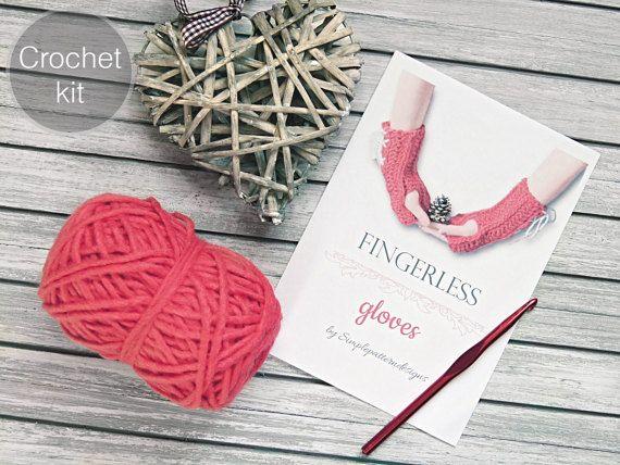 CROCHET KIT  Fingerless crochet gloves beginner crochet