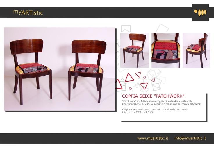 Original restored art decò chairs with handmade patchwork. By atelier myArtistic www.myartistic.it
