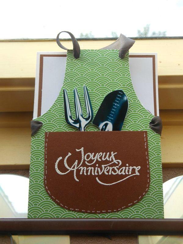Carte tablier jardinier carte anniversaire scrapbooking - Cadeau pour jardinier ...
