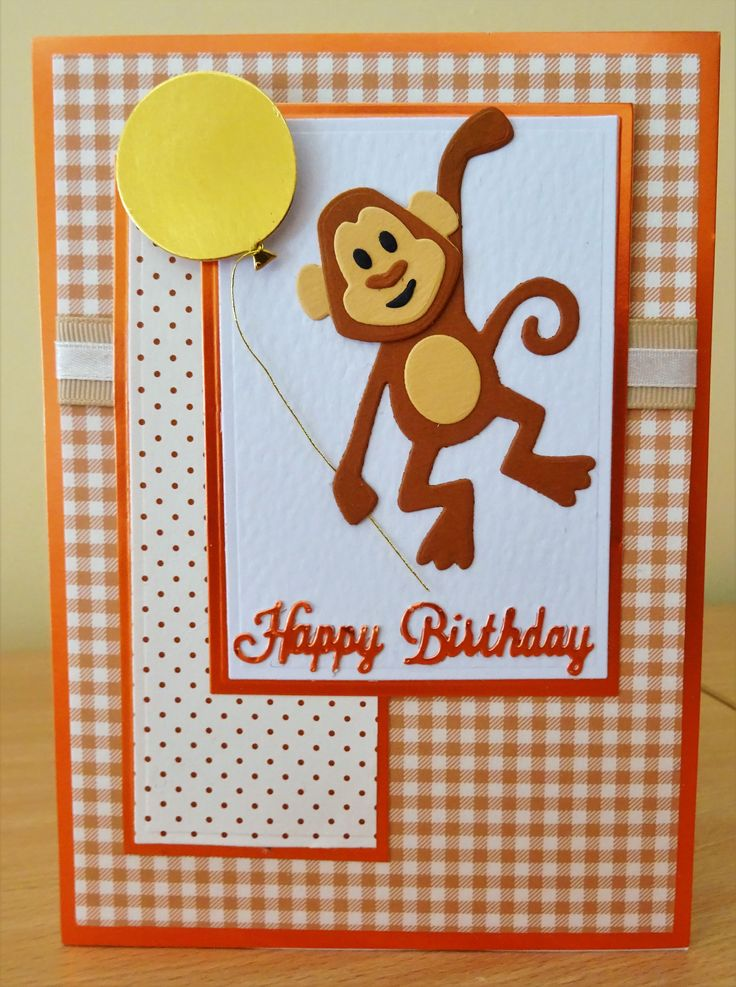 Handmade Birthday Card - Marianne Collectables Monkey Die