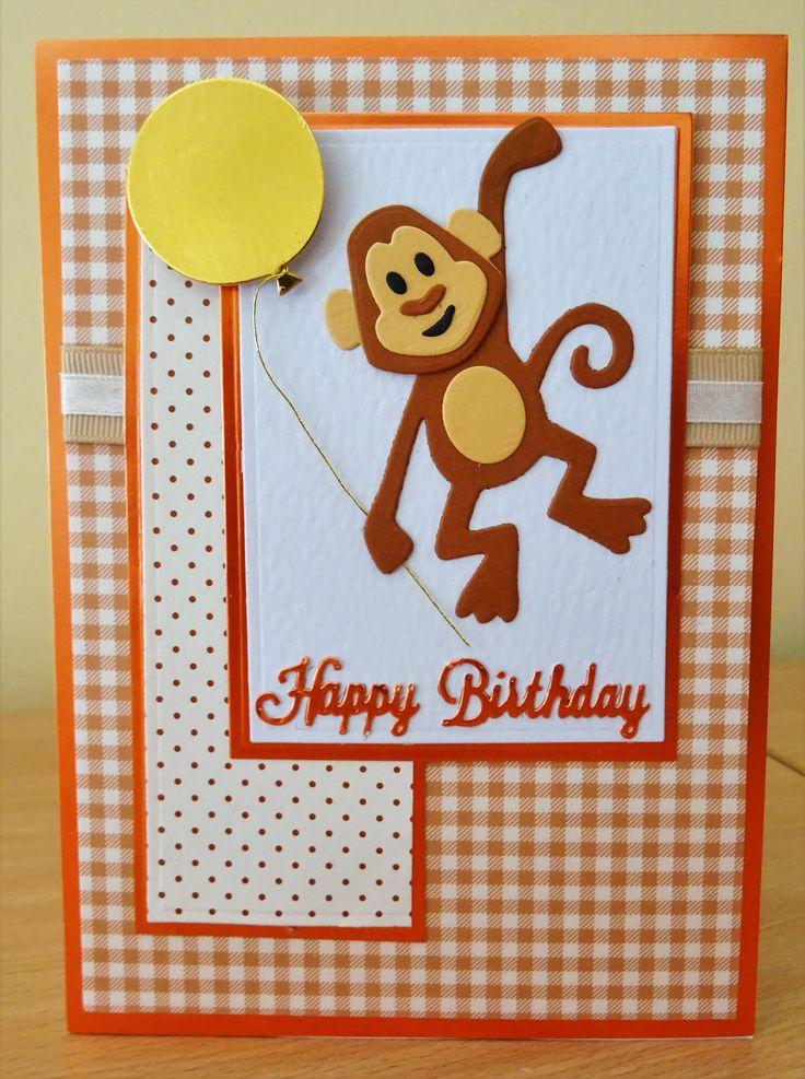 Handmade Birthday Card - Marianne Collectables Monkey Die