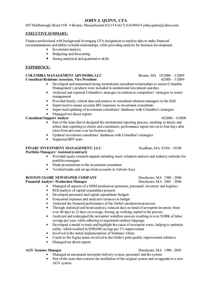 Cfa Level 1 Resume Examples in 2020 Resume examples