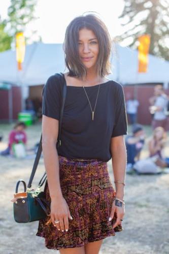 Jessica Szohr is festival Chic in FL India Mini Skirt