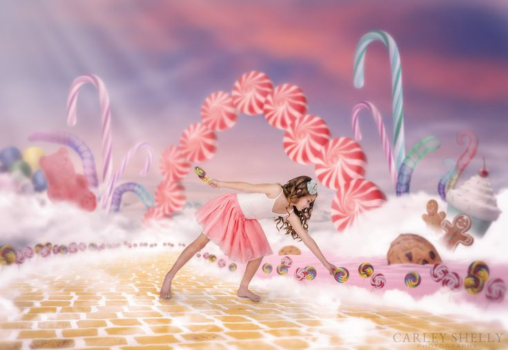 'Sweet Dreams' by Carley Shelly Photography  Girl strolling through candy land picking lollipops. Candy / Lolly theme. Creative Composite. Fine Art Digital Artist.