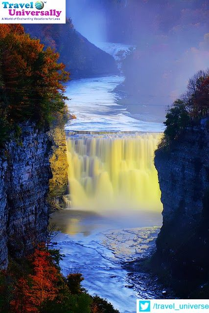 Letchworth State Parks middle falls on the Genesee River, New York State, USA.   The Genesee River is an American river flowing northward through the Twin Tiers of Pennsylvania and New York. The river provided the original power for the Rochester area's 19th century mills and still provides hydroelectric power for downtown Rochester  For more travel updates be connected to  Travel Universally