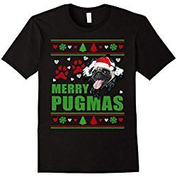 Men's Merry Pugmas Pug Christmas Sweater Style T Shirt Medium Black