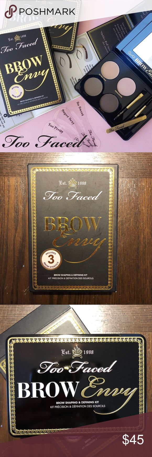 🖤NEW Too Faced BROW ENVY SHAPING & DEFINING KIT 🖤Brand new in original box. Never swatched. Too Faced BROW ENVY SHAPING & DEFINING KIT.   💛Guaranteed authentic, as always. Direct from TF. From my smoke free home.  🖤ABOUT: Fool-proof kit filled with all the essentials you need to have your brows arched, defined and framed like a star! * Mix shades for a custom brow color * Professional slanted tip tweezers grab the finest hair * 3 unique stencils * Angled brush and brow comb for flawless…
