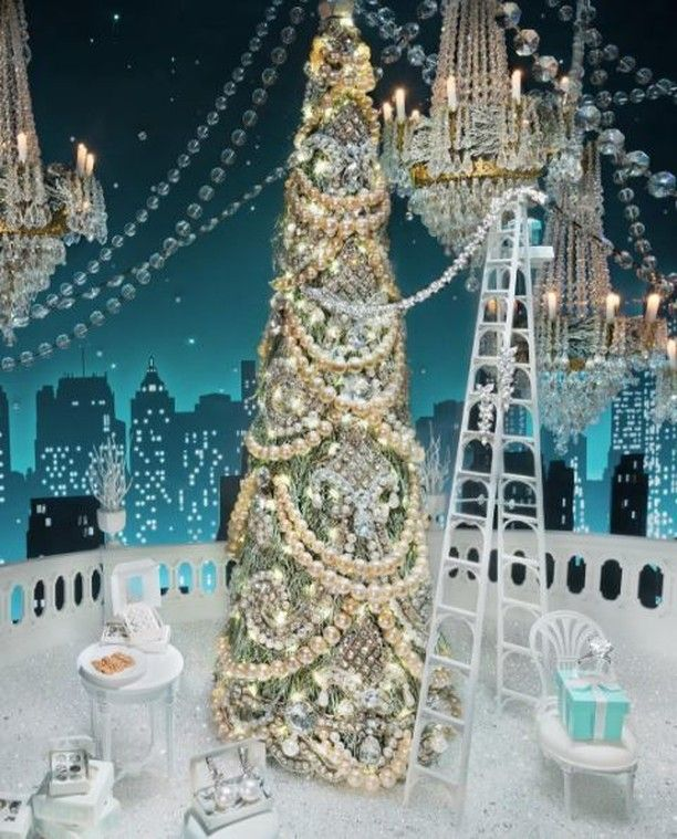 Tiffanys new york winter holiday windows depict a sparkling christmas scene