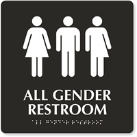 All Gender Restroom Tactile Touch Braille Sign