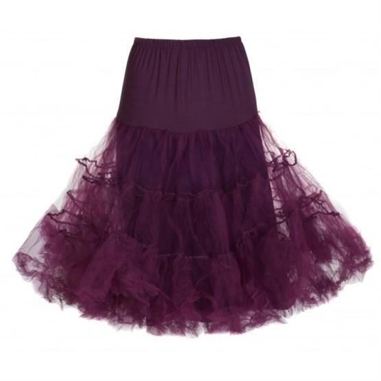 Spodnička k šatům Lindy Bop Plum krásná bohatá tylová spodnička určená k šatům vintage/retro, ale i k jiným, dokonale pozvedne výraz šatů, bohatý objem, nádherná barva, délka cca 60 cm