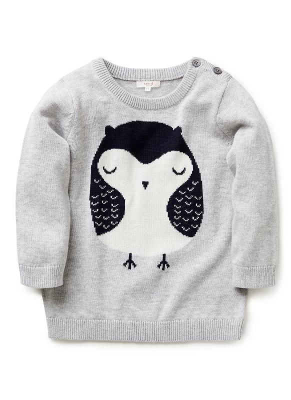 Baby Girls Knitwear & Jumpers | Owl Intarsia Sweater | Seed Heritage