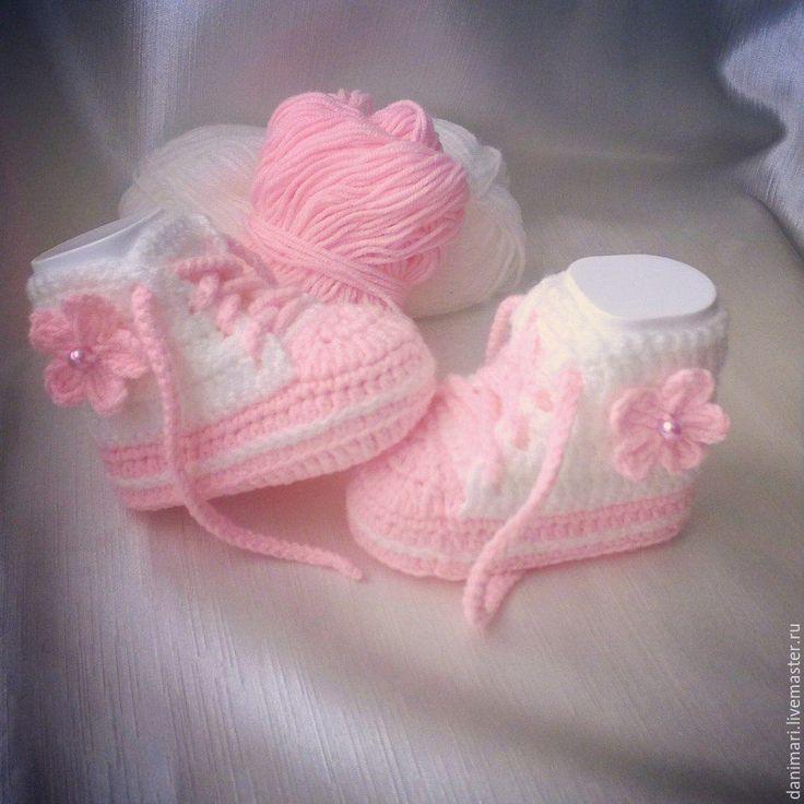 Купить Нежные пинетки кеды для принцессы - бледно-розовый, однотонный, пинетки, пинетки для новорожденных