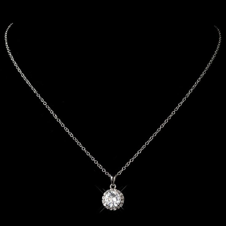 Antique Rhodium Clear CZ Crystal Pave Pendant Necklace 9398