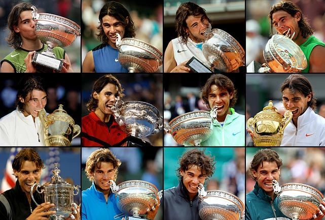 With his eighth French Open victory in nine years, Rafael Nadal has won 12 Grand Slam titles, passing Bjorn Borg and Rod Laver, and tying him with Roy Emerson for third among the all-time leaders. (SI, AFP, Getty Images, AP) GALLERY: Rafael Nadal's Grand Slam Victories