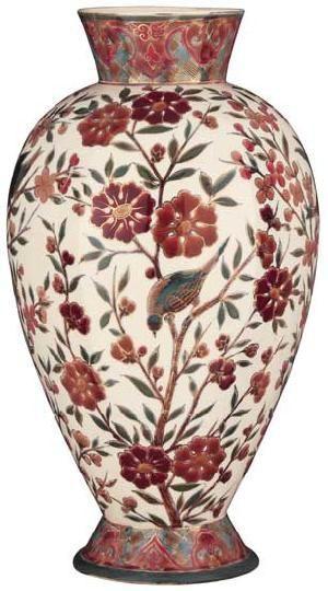 Zsolnay - Váza virágmotívummal, 1885 körül Porcelánfajansz, magastüzű színes mázas festéssel , Magasság: 39,5 cm Jelzés: TJM. családi bélyegző 5/KÁ 180 000 Ft