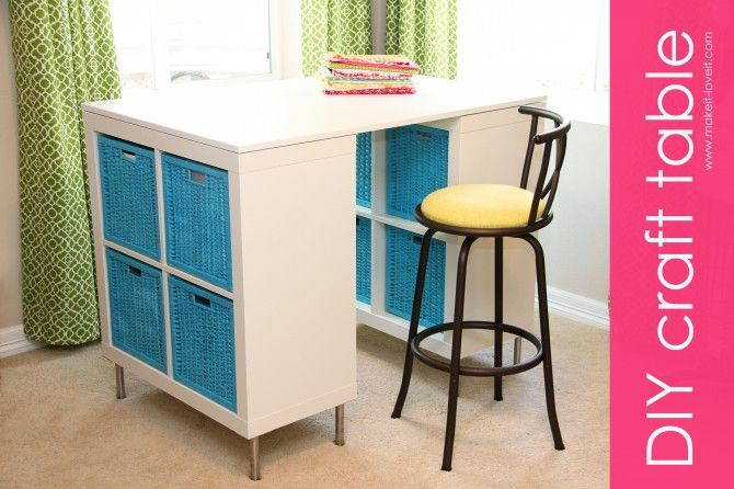 Make a craft (or art, sewing, etc.) table out of a table top, 2 shelves, and some baskets. www.makeit-loveit.com #diy #crafttable