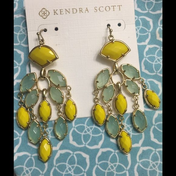 Kendra Scott Gwen Chandelier Earrings Custom Color Bar creation from the Kendra Scott flagship location on Soth Congress in Austin, TX! 14K yellow gold-plated brass chandelier earrings with yellow and chalcedony stones. They photograph beautifully! Kendra Scott Jewelry Earrings