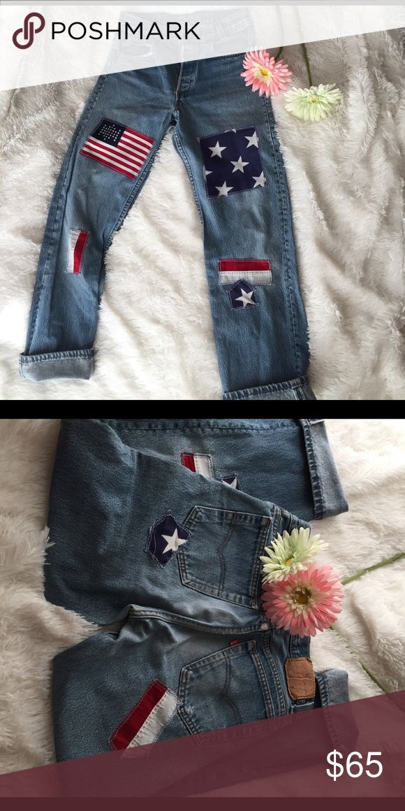 Sale 🔥Levi vintage jeans American flag Vintage style doesn't have to be cuffed I'll be getting the exact waist asap  {{{👋🏽hi welcome to my closet }}} 🔻Thank you for taking the time to visit this listing 🔻  👇🏽little pointers on my closet 👇🏽  🙋🏽Make a bundle offer using the button    ➕items to save on shipping & 💰money     🐙 sale • price drops usually at the lowest               📦🍍ship same day or next                                  🌷Need help? •Ask questions…
