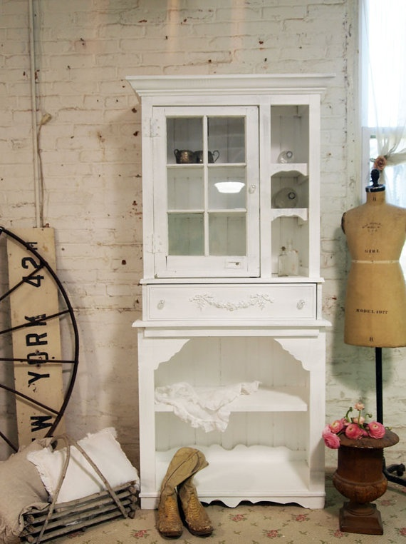 Painted Cottage Shabby White Handmade French by paintedcottages, $395.00Cottages Style, White Handmade, French Farmhouse, China Cabinets, Shabby White, Handmade French, Cottages Shabby, Painting Cottages, Cottages Furniture