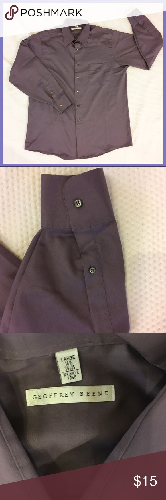 "Geoffrey Beene Plum Purple Dress Shirt Size Large. In great condition. Long sleeves / double Button cuffs ~ Button down ~ Wrinkle resistant  Pit to pit : 24"" Shoulder to hem: 30"" Sleeve length: 25"" Geoffrey Beene Shirts Dress Shirts"