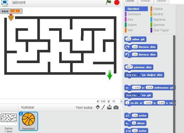 Bt ve Yazilim Dersi: Geri Sayımlı Labirent Oyunu -  Scratch