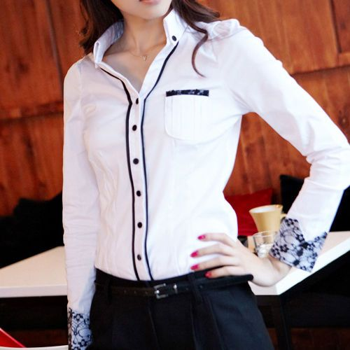 Fashion Womens Slim Long Sleeve Top Blouse Ol Career Lace Cuff Button Down Shirt