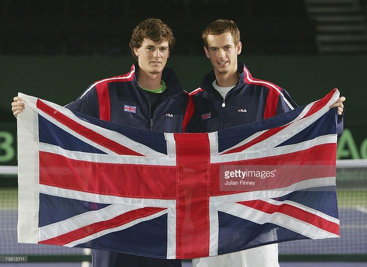 Brothers Jamie Murray and Andy Murray pose for a photo during the previews to the Davis Cup Europe/Africa Zone Group One tie between Great Britain and Netherlands at the NEC on April 5, 2007 in Birmingham, England.