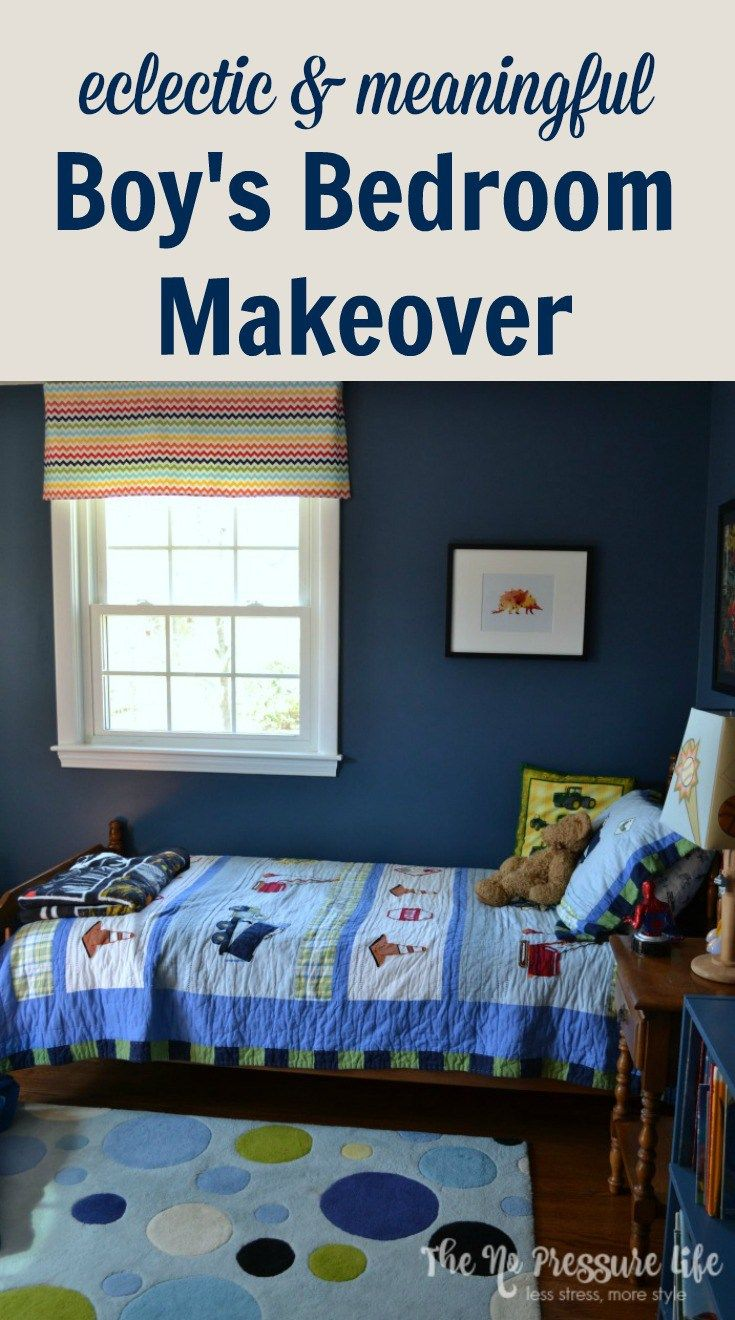 Before amp after tween boy bedroom makeover reveal - Before After An Eclectic Boy S Bedroom Makeover With Meaning