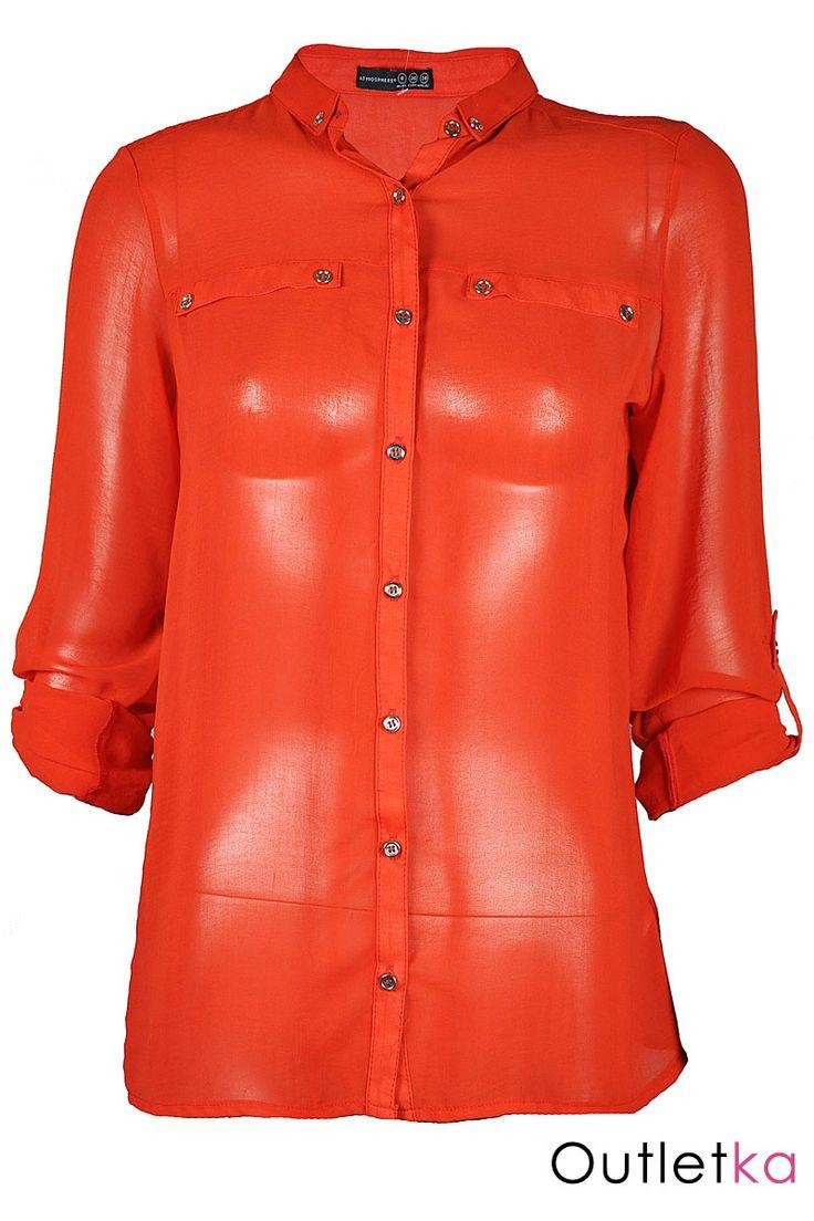 Nowa szyfonowa koszula Atmosphere w odcieniu pomarańczowym (ciemnym, stonowanym). Koszula gustowna, o ciekawym kroju, na długi rękaw, z możliwością podwinięcia. Z przodu zapinana na guziki. Posiada dwie imitacje kieszonek co daje jej ciekawy i oryginalny wygląd. Rękawy zapinane na guziki. Z kompletem firmowych metek Atmosphere.