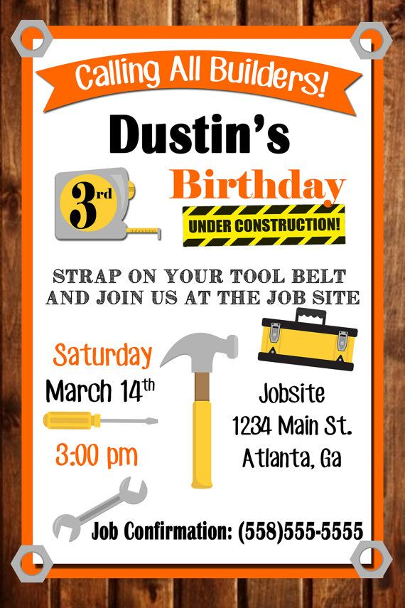 Tool Party Birthday Invitation Construction by SweetSimplySouthern                                                                                                                                                                                 More
