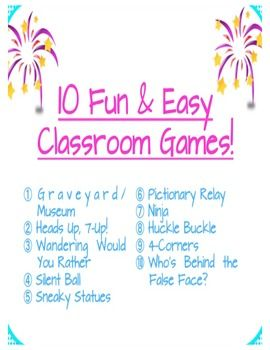 """This package includes instructions and explanations for 10 fun and easy games that you can play in your class with either very few or no materials. Many of these games I learned during my days as a day camp leader and they are always crowd pleasers. As a substitute teacher, I now use these games as brain breaks or whole class """"rewards"""" for getting our work done early or good behaviour."""