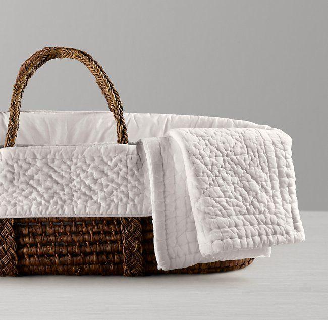 Heirloom Quilted Voile Moses Basket Bedding & Espresso Basket Set