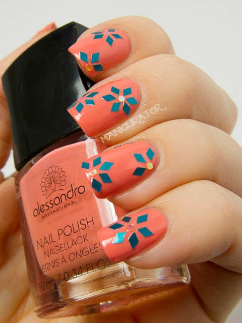 manicurator: Alessandro Peachy Cinderella Swatch and Review with Glitter Flower Nail Art - Digit-al Dozen Bling Week