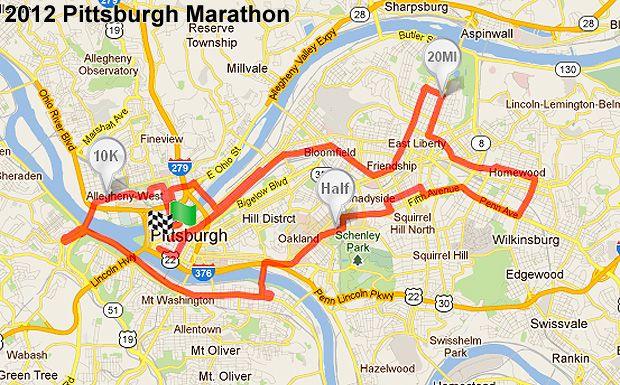 2012 Pittsburgh Marathon MAP Maps of Pittsburgh PA