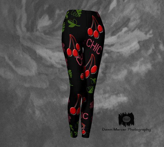 Cherry Chic Leggings Black Leggings Cherry by DawnMercerPhoto