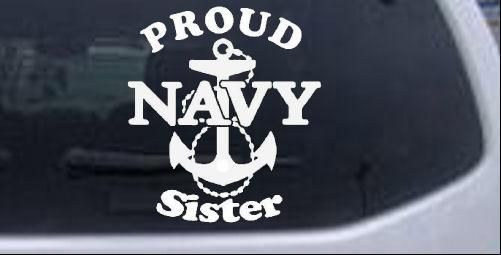 Proud Navy Sister Anchor Car Decal Sticker