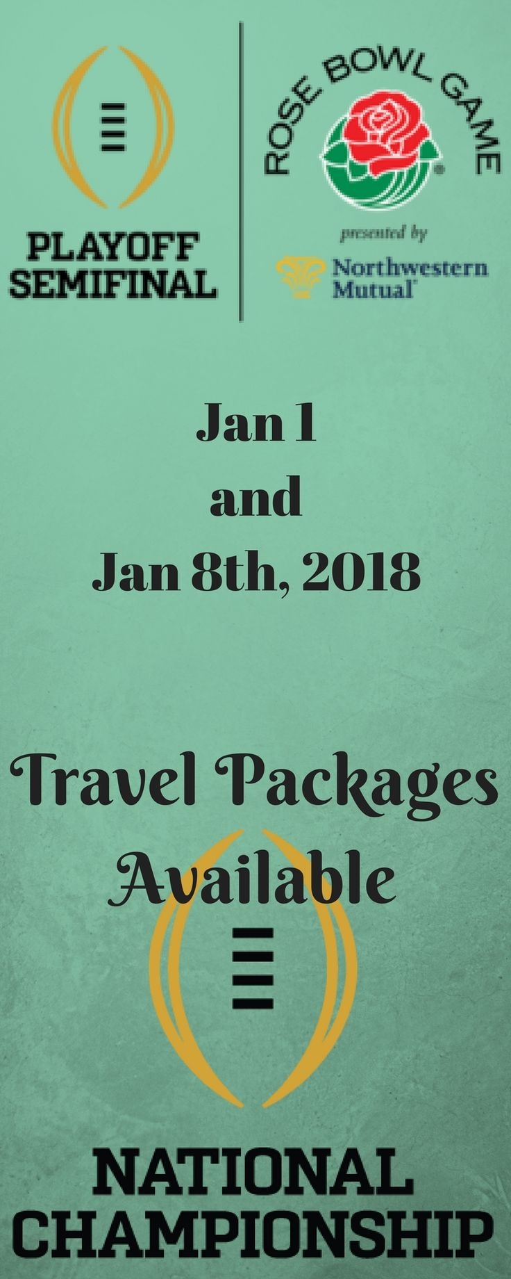 College Football National Championship. Travel packages now available.
