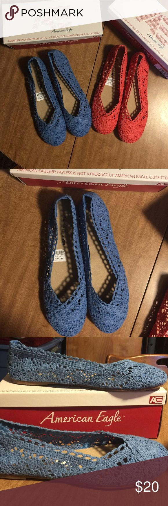 Summer crocheted flats Brand new cute American eagle  summer crochet flats still in box. American Eagle by Payless Shoes Flats & Loafers