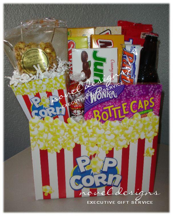 Movie Night Bouquet With Drinks: Movie Theme Gift Basket
