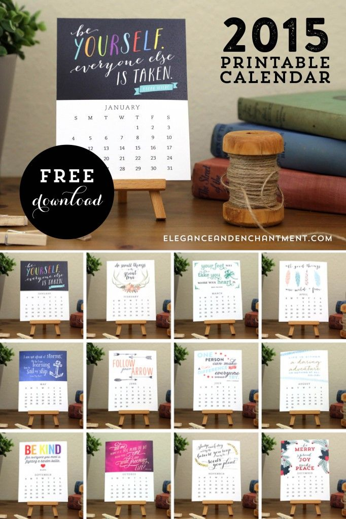 Free Printable 2015 Motivational Desk Calendar