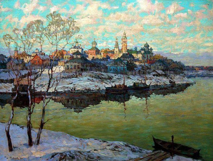 Художник Константин Горбатов.  Ранняя весна. Город на реке