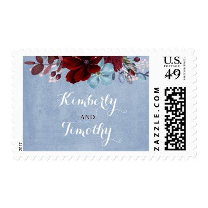 Burgundy and Dusty Blue Watercolor Flowers Wedding Postage - watercolor gifts style unique ideas diy